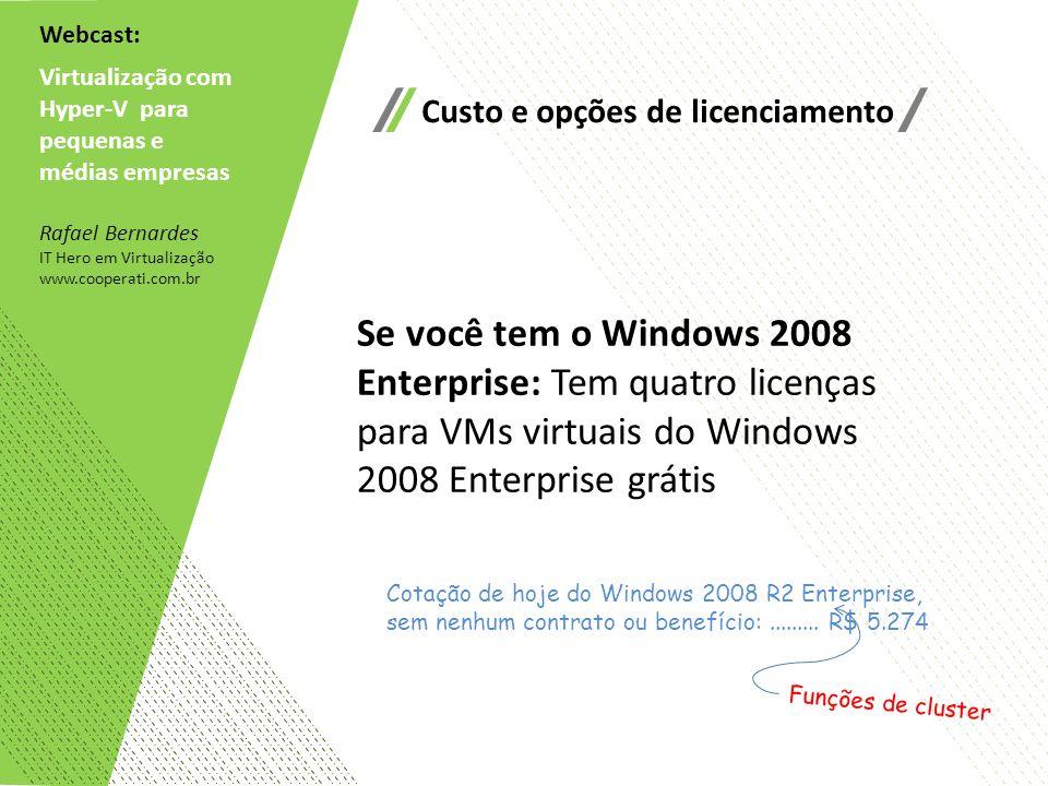 Webcast: Virtualização com. Hyper-V para. pequenas e. médias empresas. Custo e opções de licenciamento.
