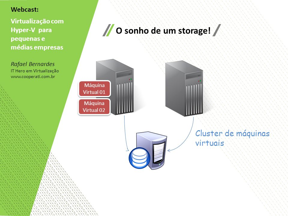O sonho de um storage! Cluster de máquinas virtuais Webcast: