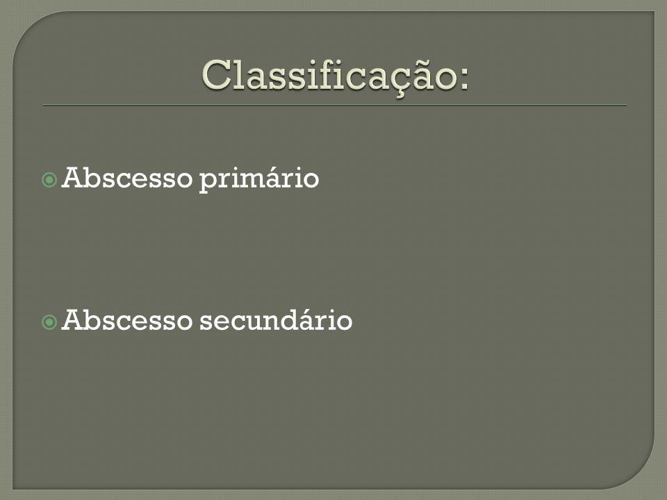 Classificação: Abscesso primário Abscesso secundário