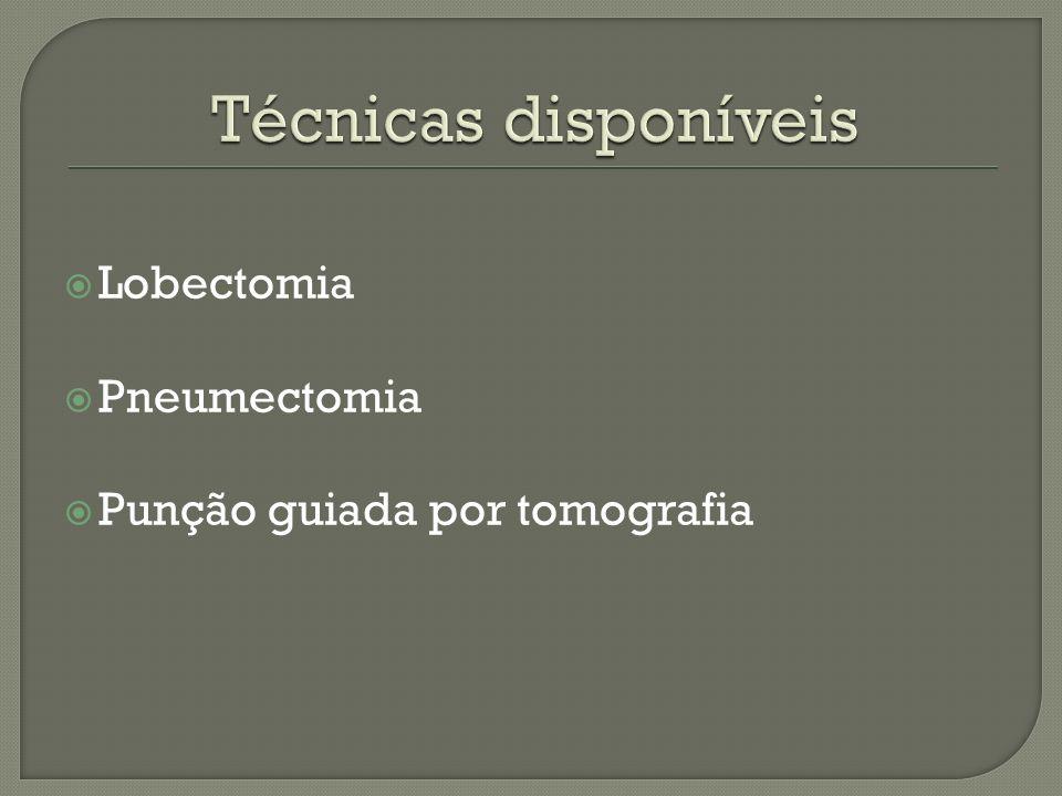 Técnicas disponíveis Lobectomia Pneumectomia