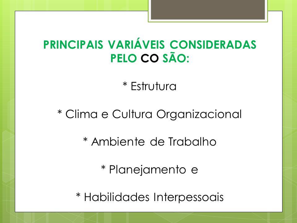 PRINCIPAIS VARIÁVEIS CONSIDERADAS PELO CO SÃO:. Estrutura