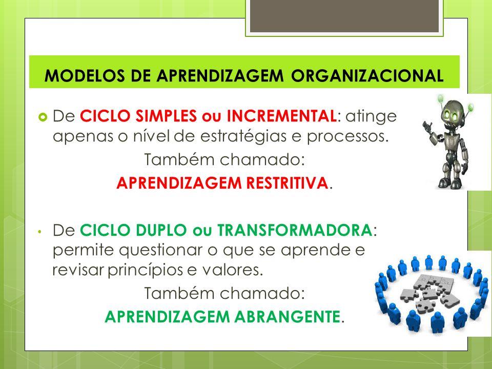 MODELOS DE APRENDIZAGEM ORGANIZACIONAL