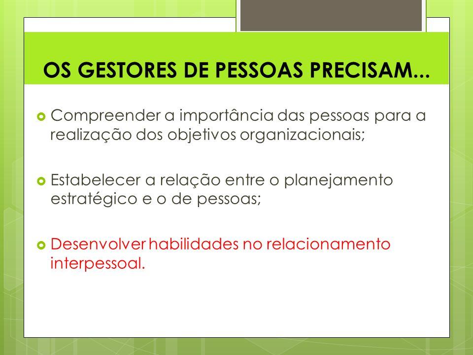 OS GESTORES DE PESSOAS PRECISAM...