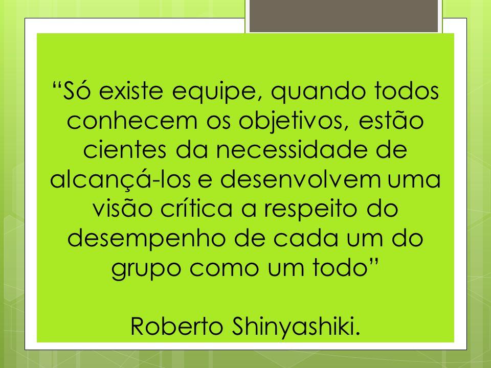Só existe equipe, quando todos conhecem os objetivos, estão cientes da necessidade de alcançá-los e desenvolvem uma visão crítica a respeito do desempenho de cada um do grupo como um todo Roberto Shinyashiki.