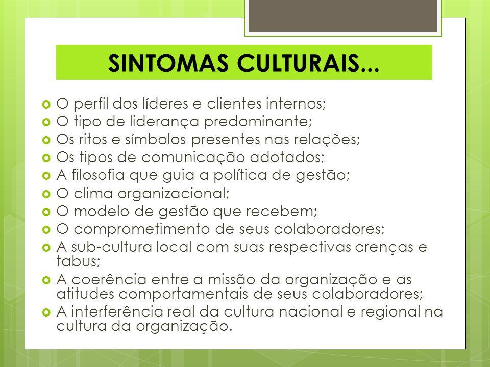 SINTOMAS CULTURAIS... O perfil dos líderes e clientes internos;