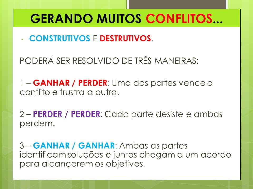 GERANDO MUITOS CONFLITOS...