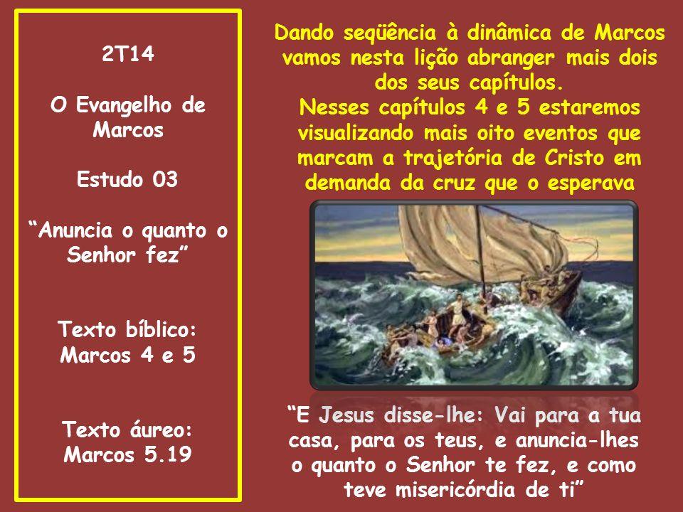 Anuncia o quanto o Senhor fez Texto bíblico: Marcos 4 e 5