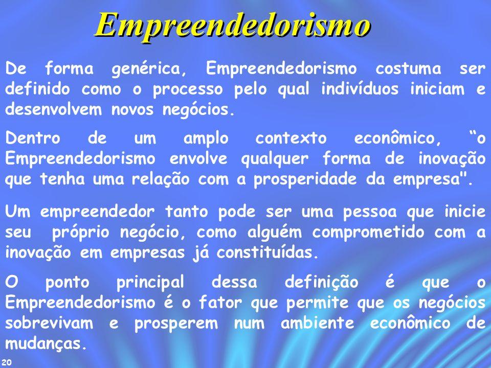 Empreendedorismo De forma genérica, Empreendedorismo costuma ser definido como o processo pelo qual indivíduos iniciam e desenvolvem novos negócios.