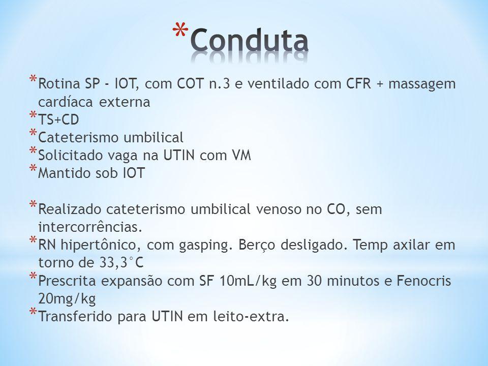 Conduta Rotina SP - IOT, com COT n.3 e ventilado com CFR + massagem cardíaca externa. TS+CD. Cateterismo umbilical.