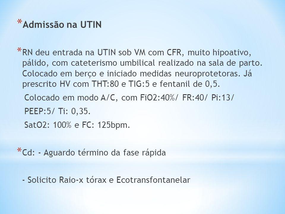 Admissão na UTIN