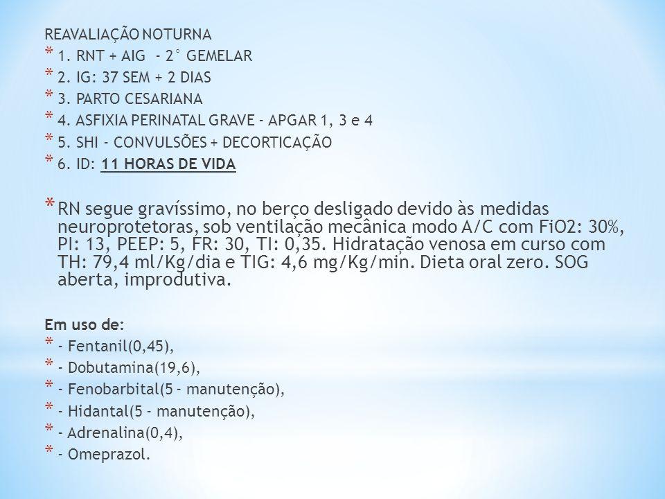 REAVALIAÇÃO NOTURNA 1. RNT + AIG - 2° GEMELAR. 2. IG: 37 SEM + 2 DIAS. 3. PARTO CESARIANA. 4. ASFIXIA PERINATAL GRAVE - APGAR 1, 3 e 4.