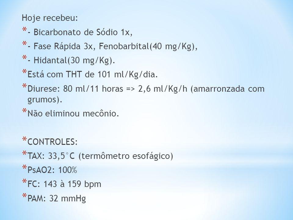 Hoje recebeu: - Bicarbonato de Sódio 1x, - Fase Rápida 3x, Fenobarbital(40 mg/Kg), - Hidantal(30 mg/Kg).
