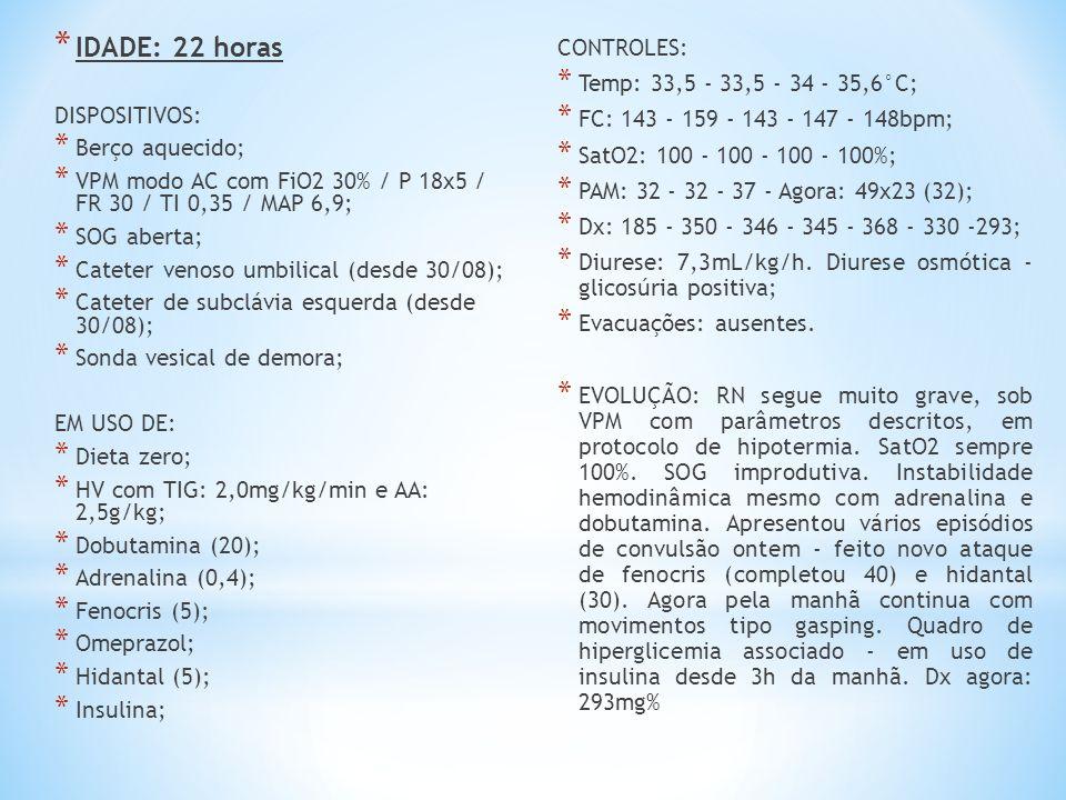 IDADE: 22 horas CONTROLES: Temp: 33,5 - 33,5 - 34 - 35,6°C;