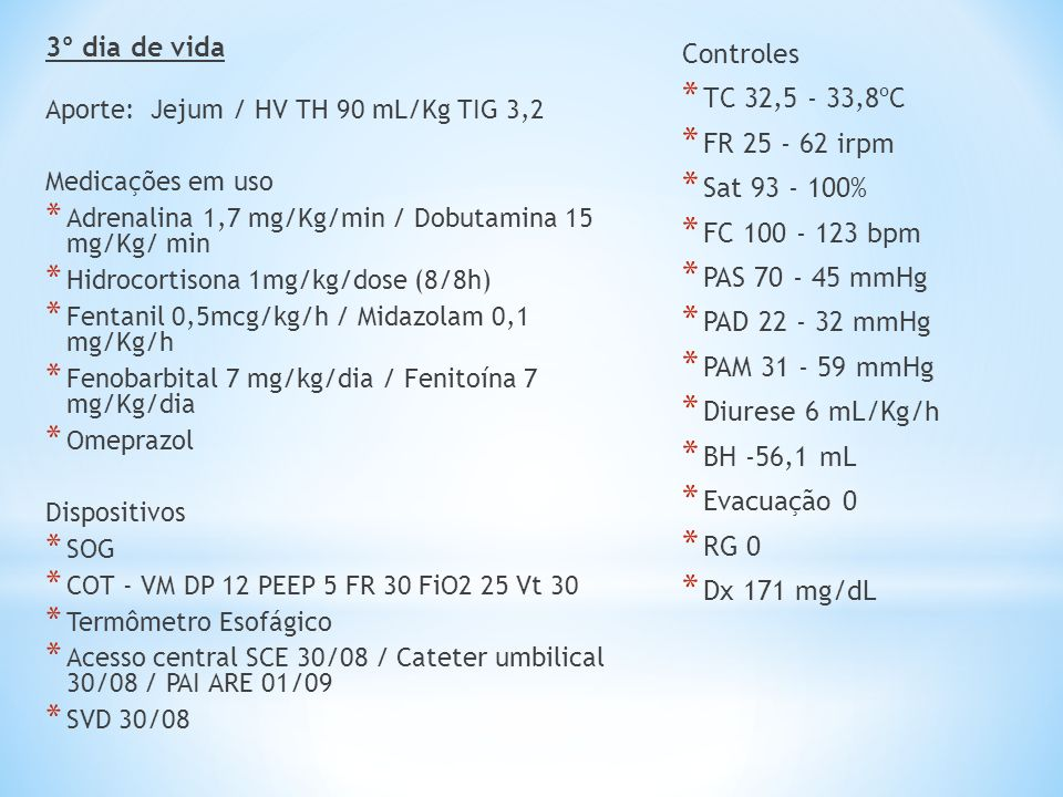 3º dia de vida Controles TC 32,5 - 33,8ºC FR 25 - 62 irpm