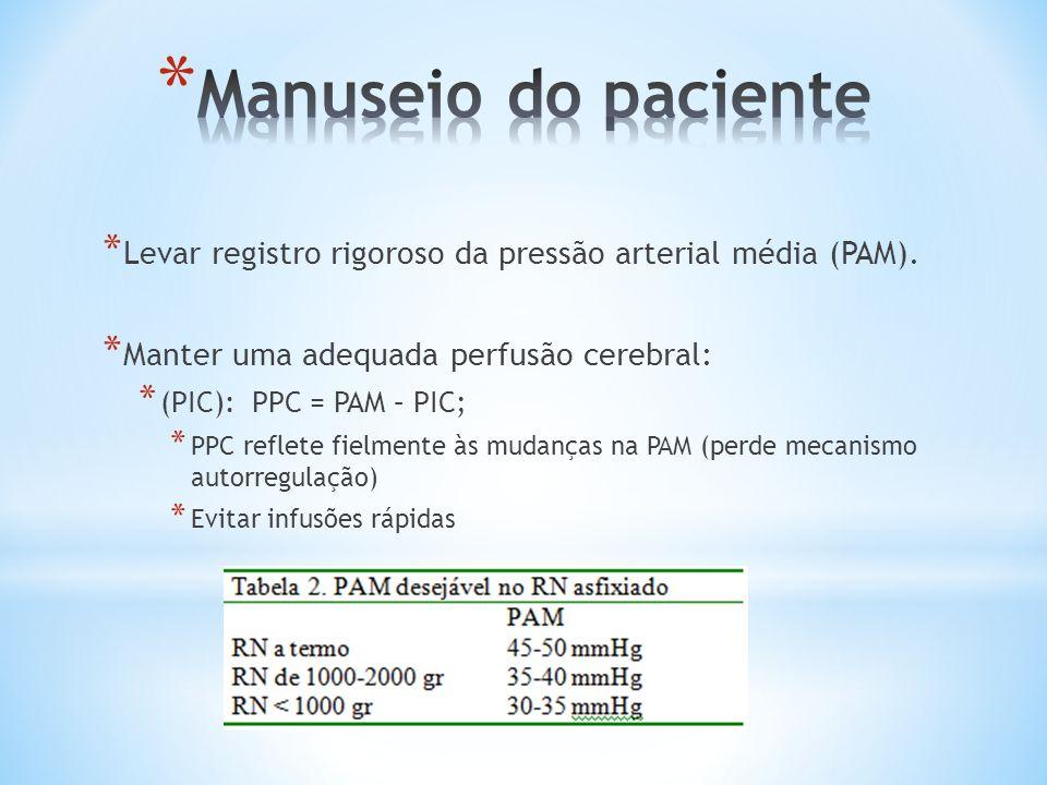Manuseio do paciente Levar registro rigoroso da pressão arterial média (PAM). Manter uma adequada perfusão cerebral: