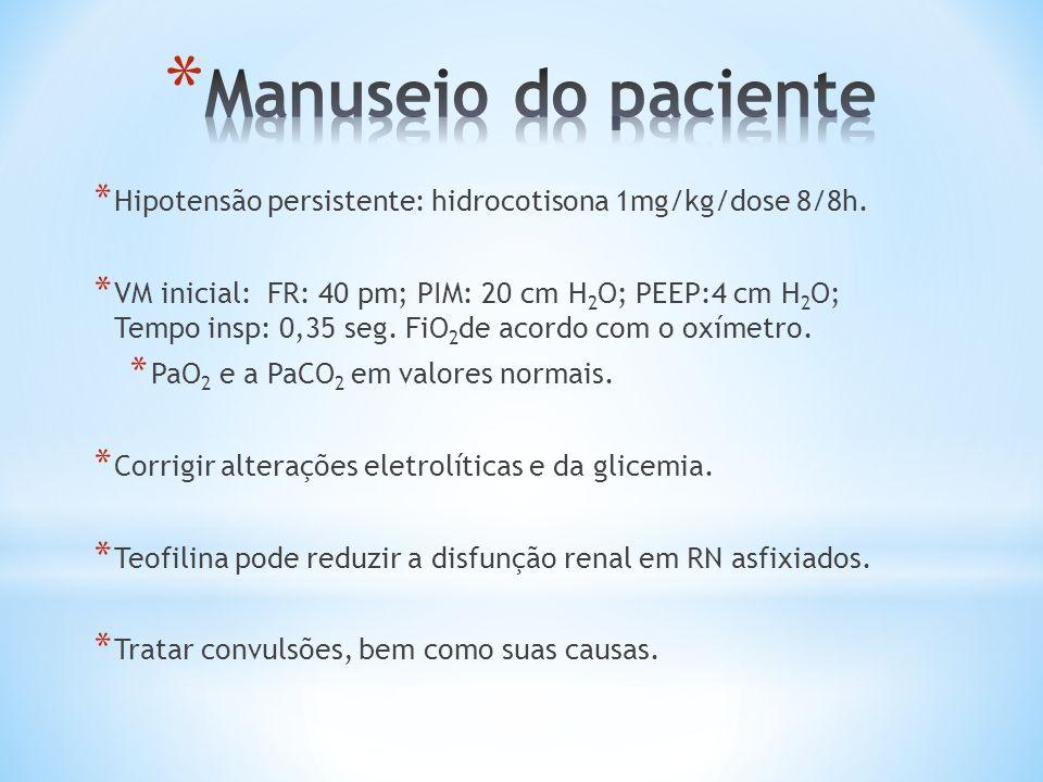 Manuseio do paciente Hipotensão persistente: hidrocotisona 1mg/kg/dose 8/8h.