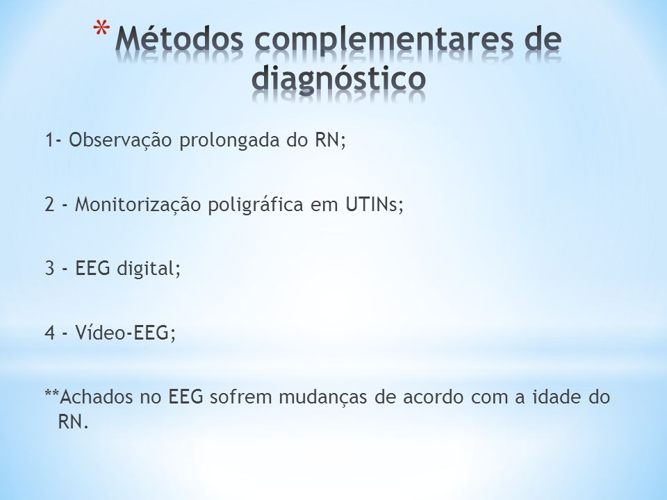 Métodos complementares de diagnóstico