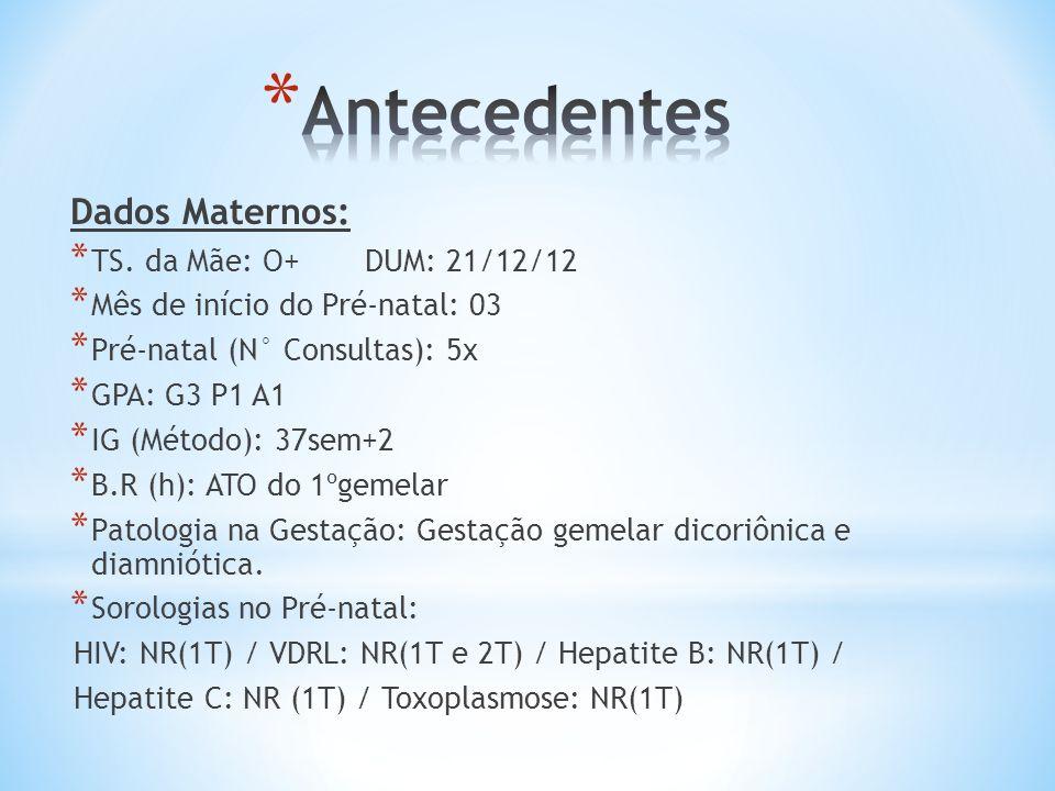 Antecedentes Dados Maternos: TS. da Mãe: O+ DUM: 21/12/12