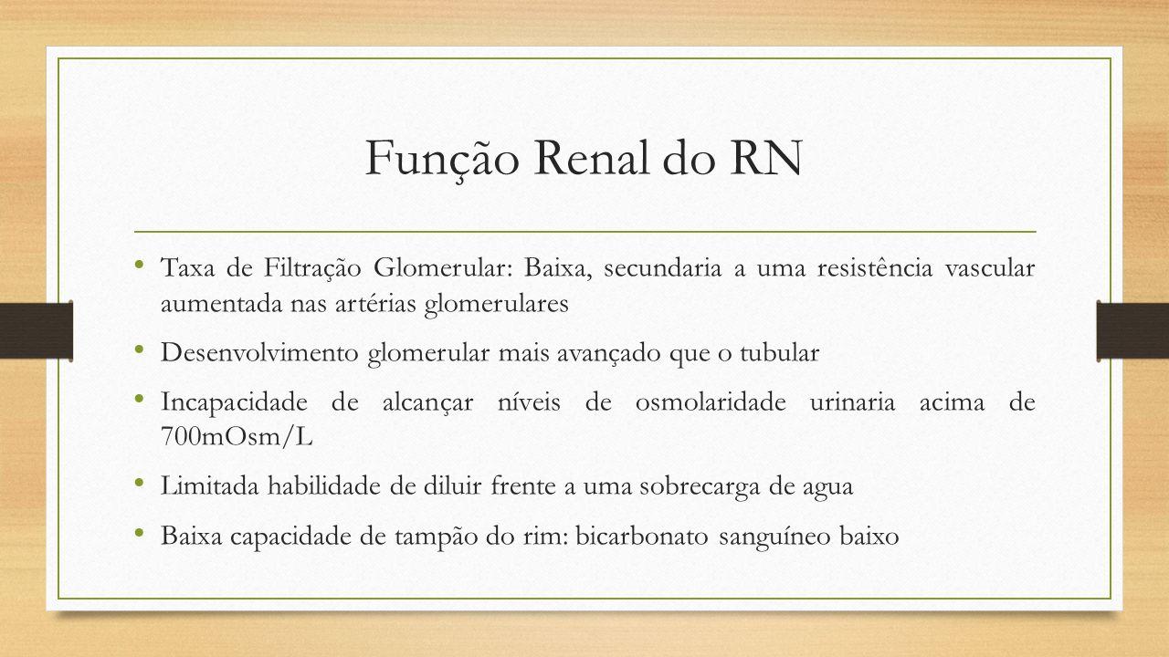Função Renal do RN Taxa de Filtração Glomerular: Baixa, secundaria a uma resistência vascular aumentada nas artérias glomerulares.