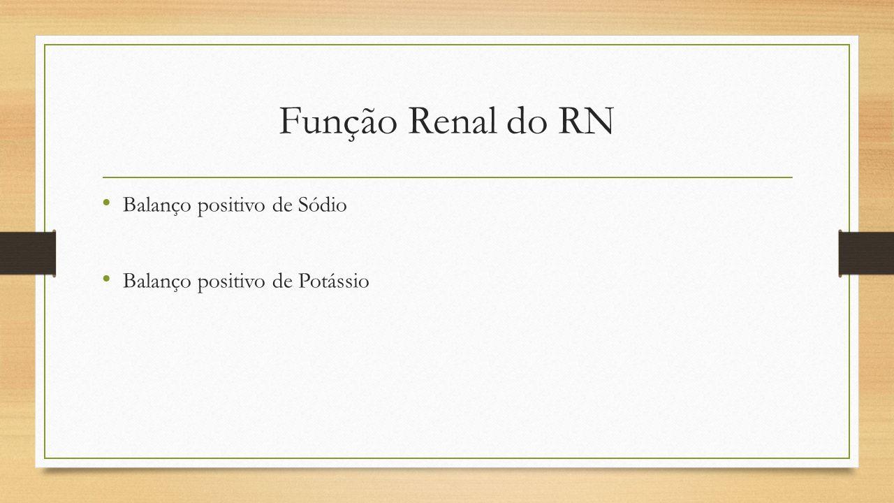 Função Renal do RN Balanço positivo de Sódio
