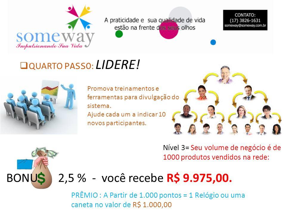 BONU 2,5 % - você recebe R$ 9.975,00. QUARTO PASSO: LIDERE!