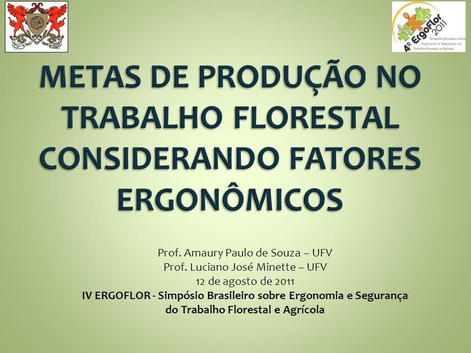 METAS DE PRODUÇÃO NO TRABALHO FLORESTAL CONSIDERANDO FATORES ERGONÔMICOS