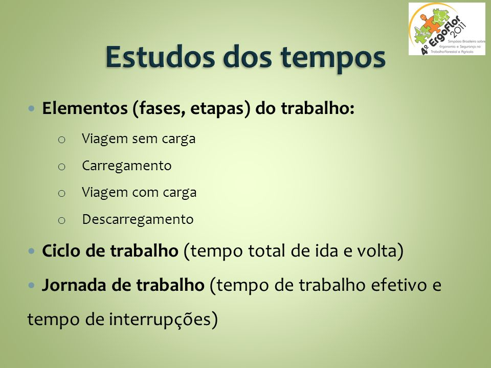 Estudos dos tempos Elementos (fases, etapas) do trabalho: