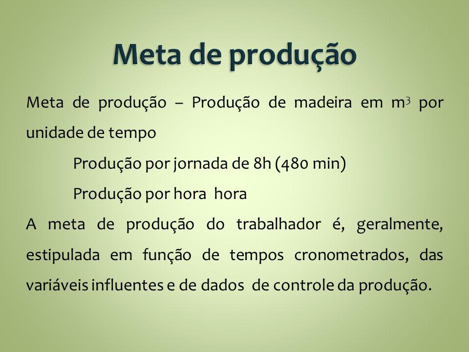 Meta de produção Meta de produção – Produção de madeira em m3 por unidade de tempo. Produção por jornada de 8h (480 min)