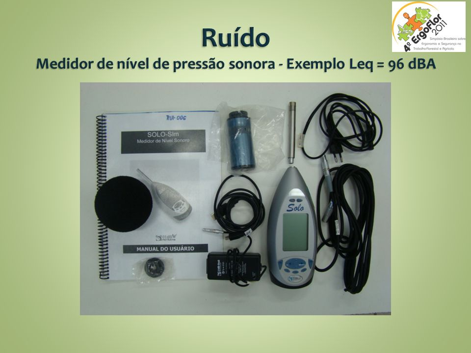 Ruído Medidor de nível de pressão sonora - Exemplo Leq = 96 dBA