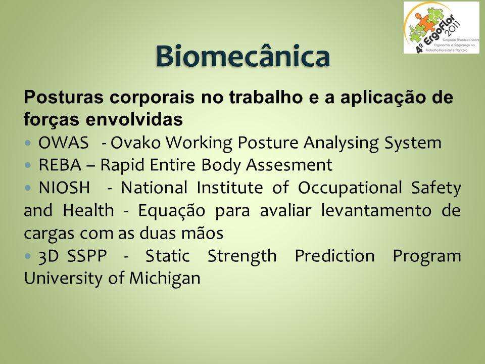 Biomecânica Posturas corporais no trabalho e a aplicação de forças envolvidas. OWAS - Ovako Working Posture Analysing System.