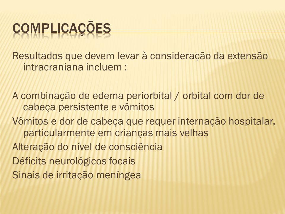 Complicações Resultados que devem levar à consideração da extensão intracraniana incluem :