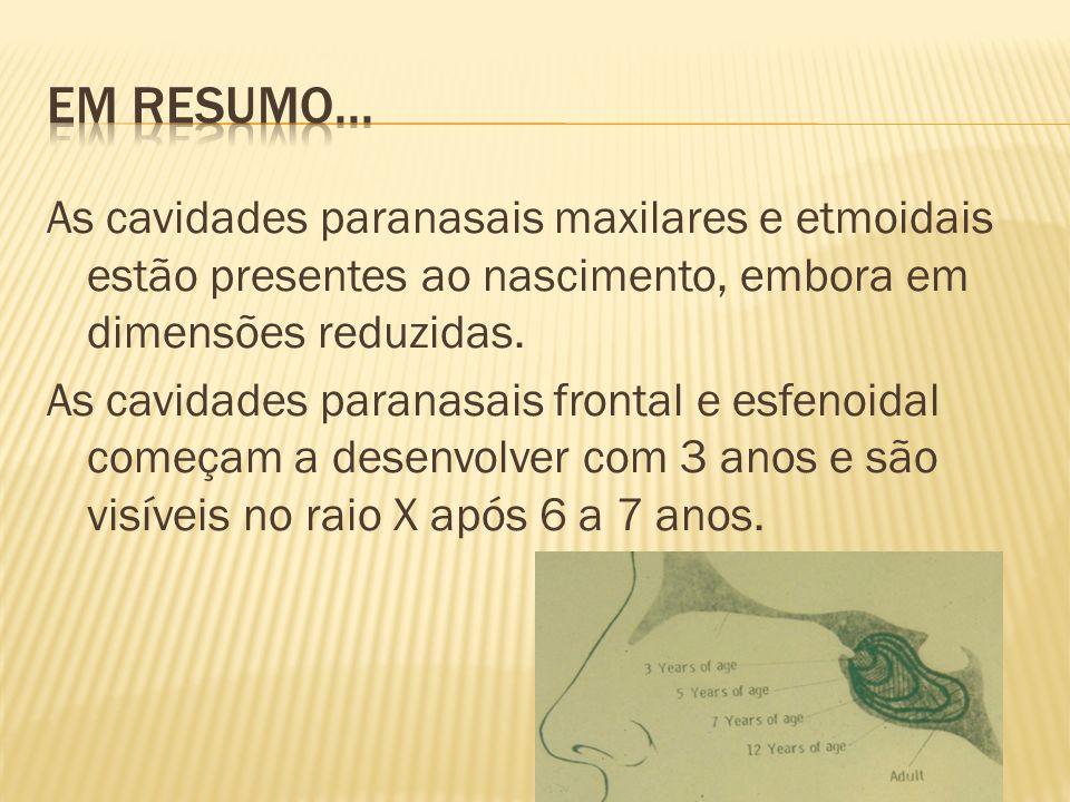 Em resumo... As cavidades paranasais maxilares e etmoidais estão presentes ao nascimento, embora em dimensões reduzidas.