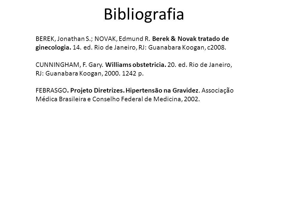 Bibliografia BEREK, Jonathan S.; NOVAK, Edmund R. Berek & Novak tratado de ginecologia. 14. ed. Rio de Janeiro, RJ: Guanabara Koogan, c2008.