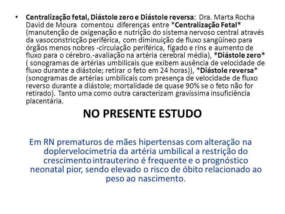 Centralização fetal, Diástole zero e Diástole reversa: Dra