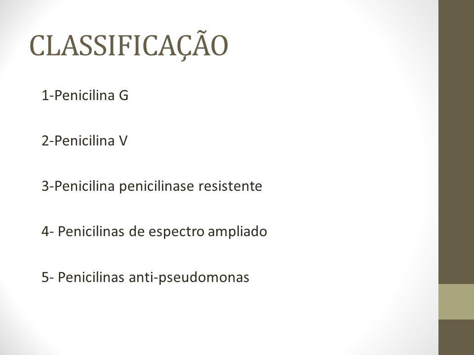 CLASSIFICAÇÃO 1-Penicilina G 2-Penicilina V