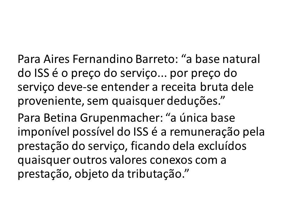 Para Aires Fernandino Barreto: a base natural do ISS é o preço do serviço...
