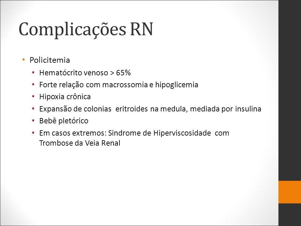 Complicações RN Policitemia Hematócrito venoso > 65%