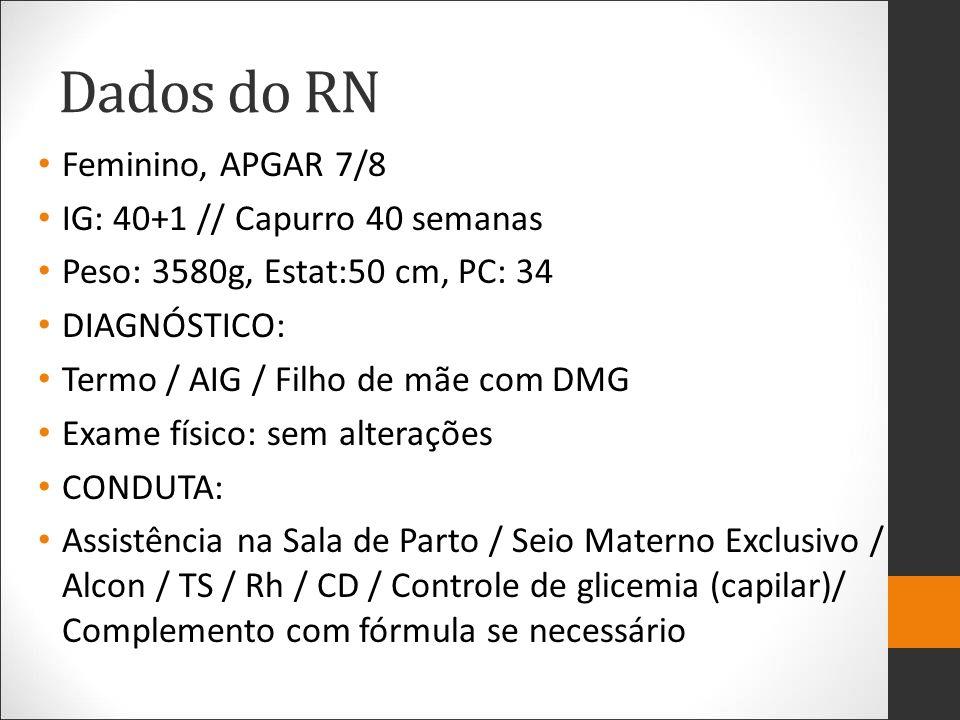 Dados do RN Feminino, APGAR 7/8 IG: 40+1 // Capurro 40 semanas