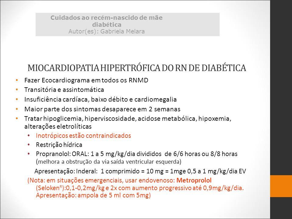 MIOCARDIOPATIA HIPERTRÓFICA DO RN DE DIABÉTICA