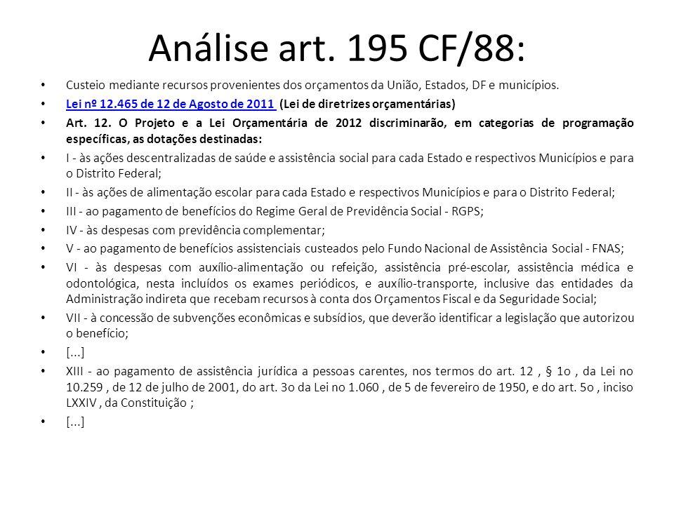 Análise art. 195 CF/88: Custeio mediante recursos provenientes dos orçamentos da União, Estados, DF e municípios.
