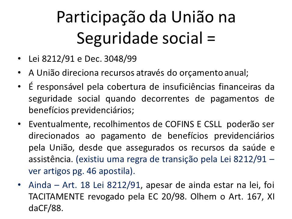 Participação da União na Seguridade social =