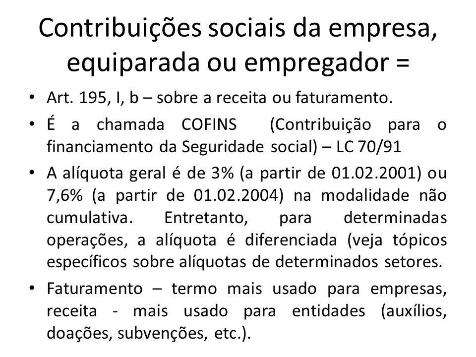 Contribuições sociais da empresa, equiparada ou empregador =