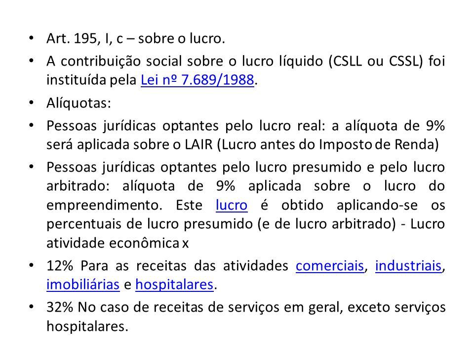 Art. 195, I, c – sobre o lucro. A contribuição social sobre o lucro líquido (CSLL ou CSSL) foi instituída pela Lei nº 7.689/1988.