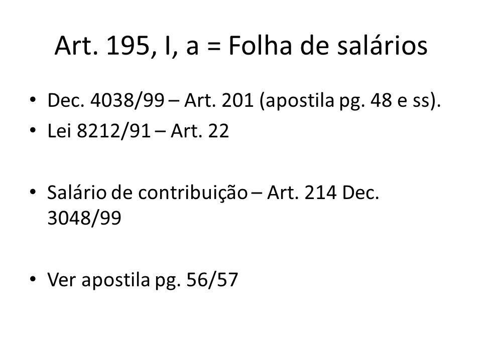 Art. 195, I, a = Folha de salários