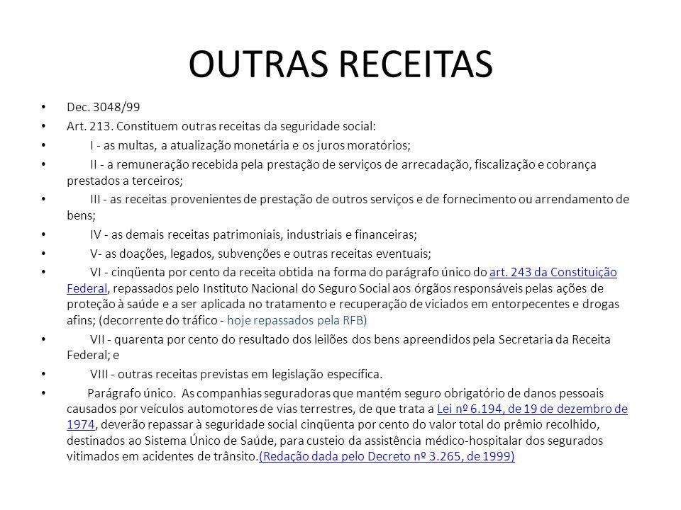OUTRAS RECEITAS Dec. 3048/99. Art. 213. Constituem outras receitas da seguridade social: