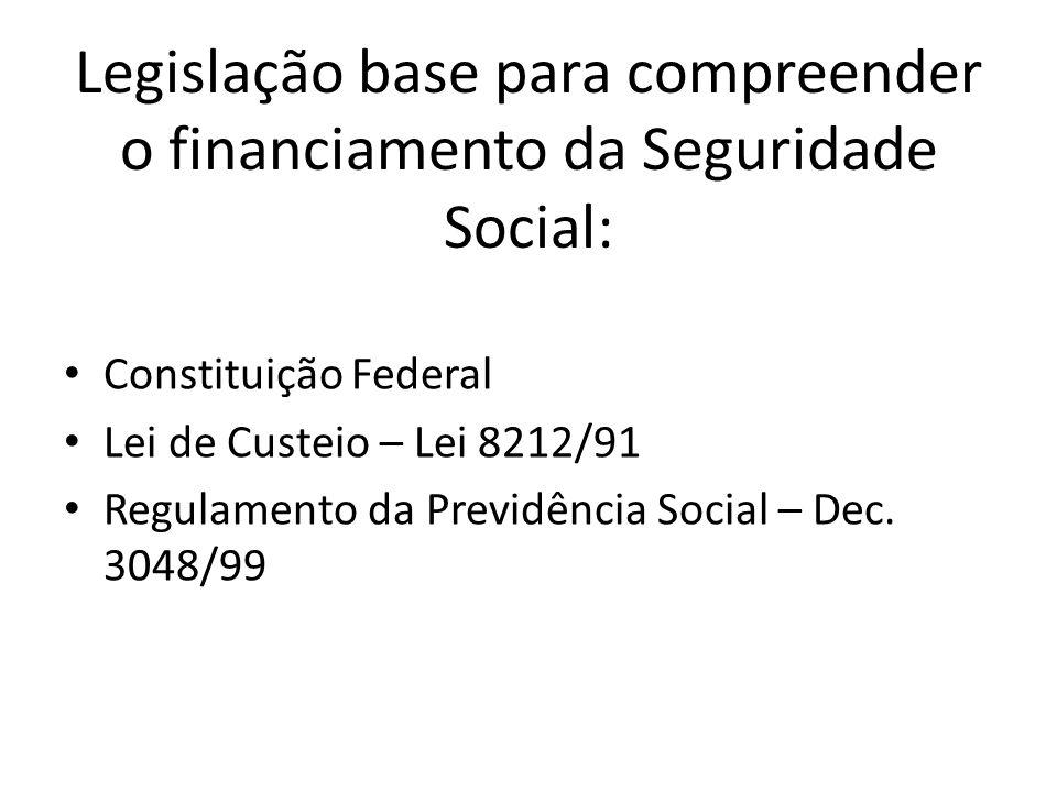 Legislação base para compreender o financiamento da Seguridade Social: