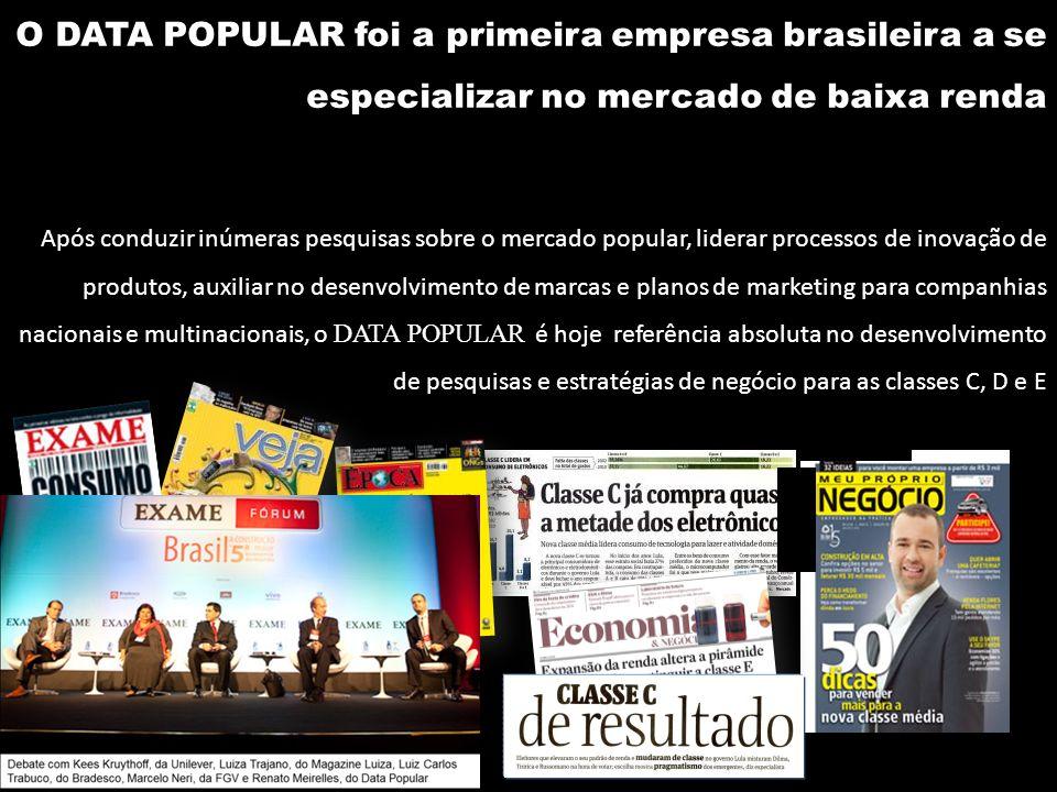 O DATA POPULAR foi a primeira empresa brasileira a se especializar no mercado de baixa renda