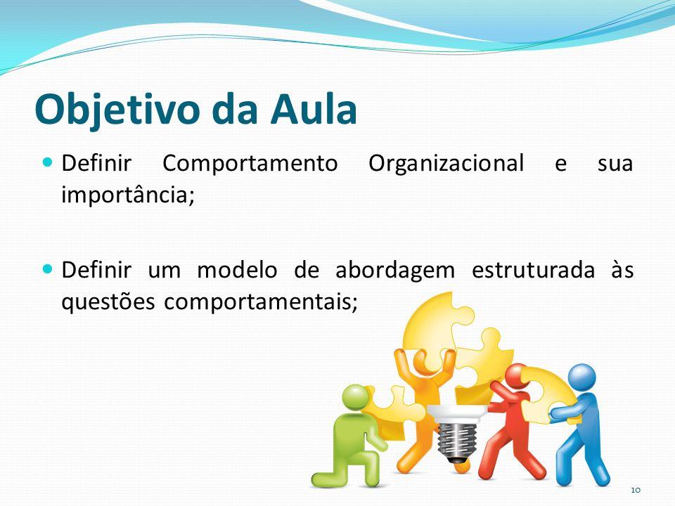 Objetivo da Aula Definir Comportamento Organizacional e sua importância; Definir um modelo de abordagem estruturada às questões comportamentais;