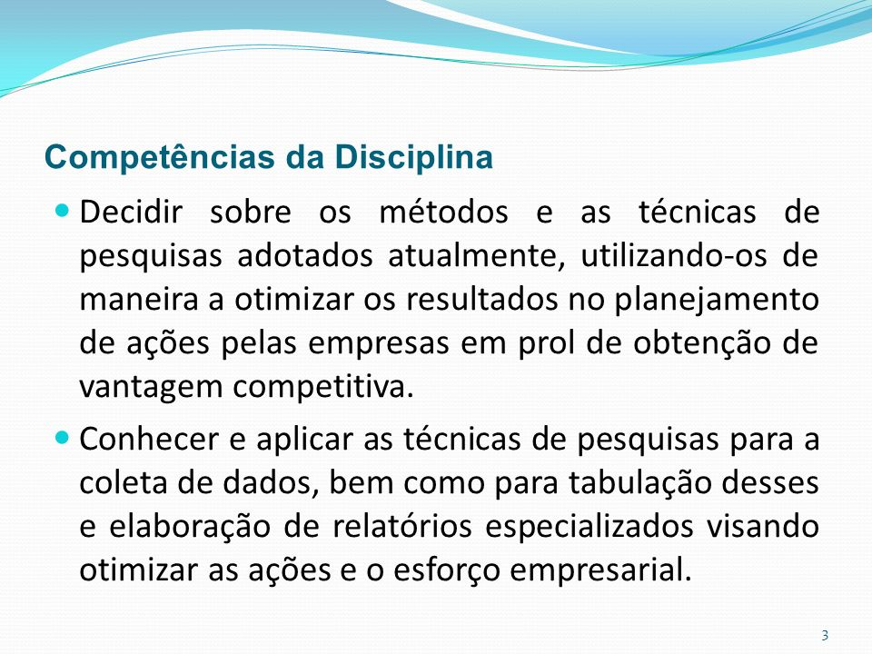 Competências da Disciplina