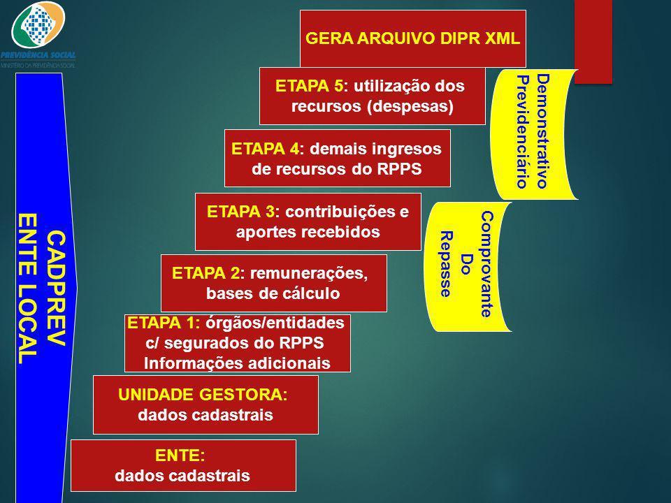 ENTE LOCAL CADPREV GERA ARQUIVO DIPR XML ETAPA 5: utilização dos